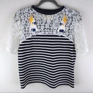 Anthropologie Lace Stripe Novelty Tee